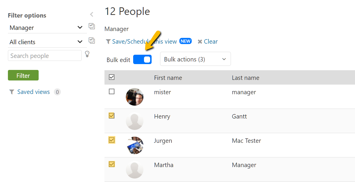 Enable Bulk Editing & Select Users