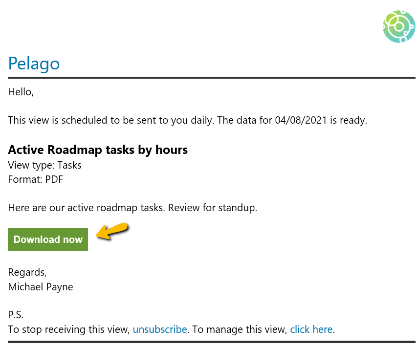Scheduled View Email