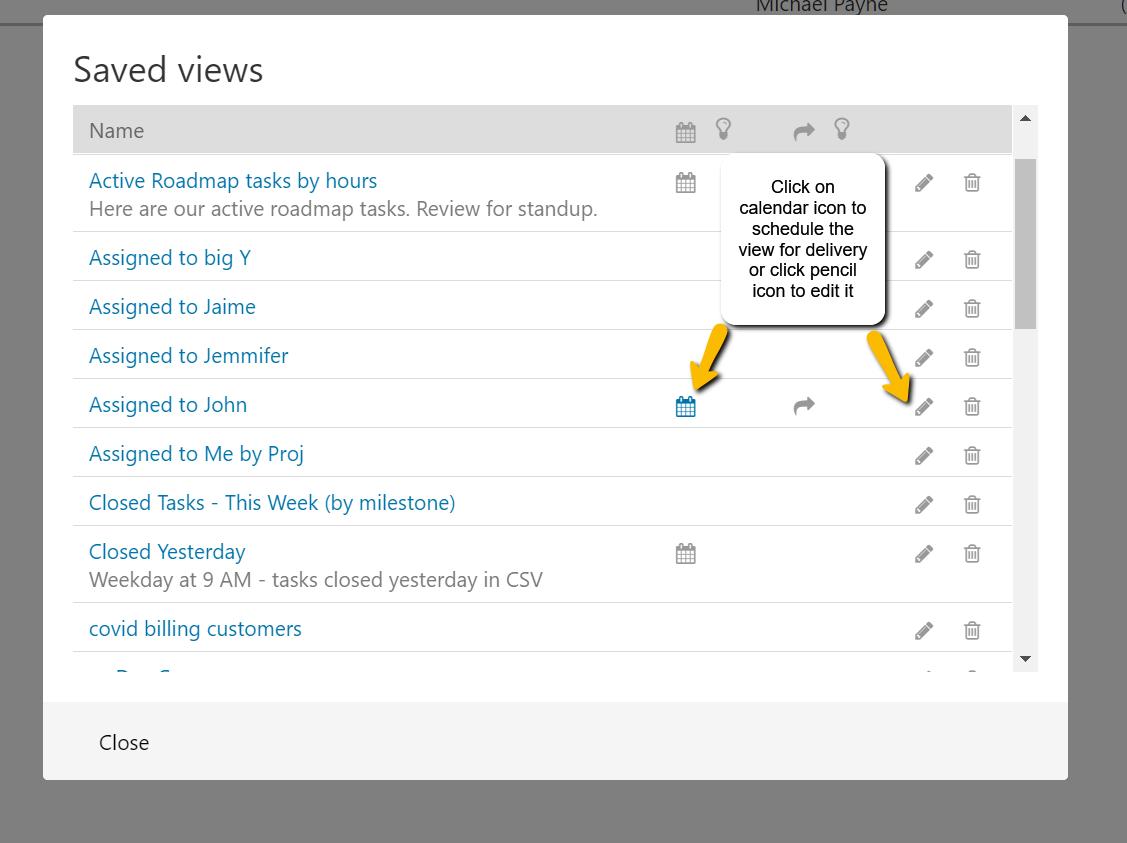 Edit Saved Task View