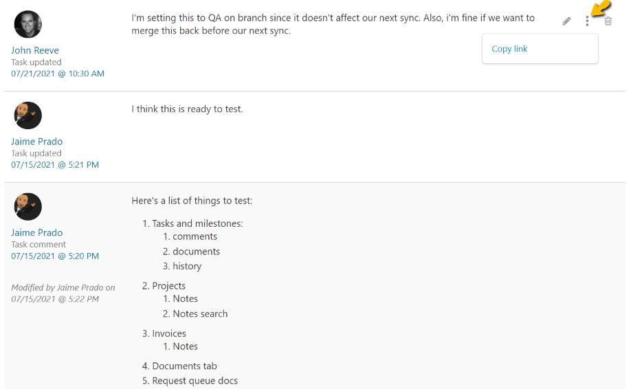 Task Comment Link